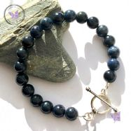 Dumortierite Healing Bracelet with Silver Toggle Clasp